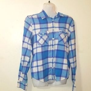 AEO Blue purple white plaid Collar S Top